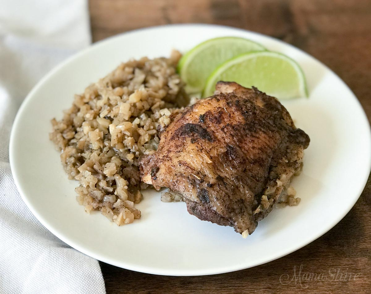 Easy Jamaican Jerk Chicken recipe with lime wedges