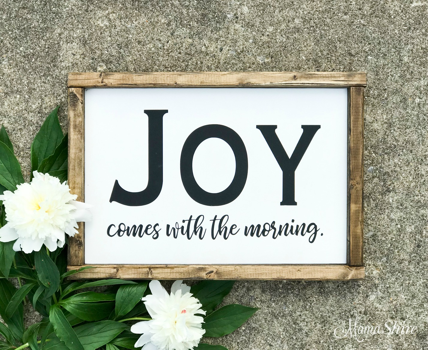 Joy comes in the morning wood sign made with SVG cut file.