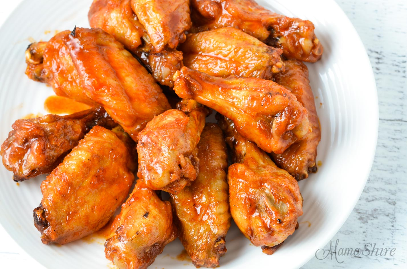 A plate of Korean air fryer chicken wings.