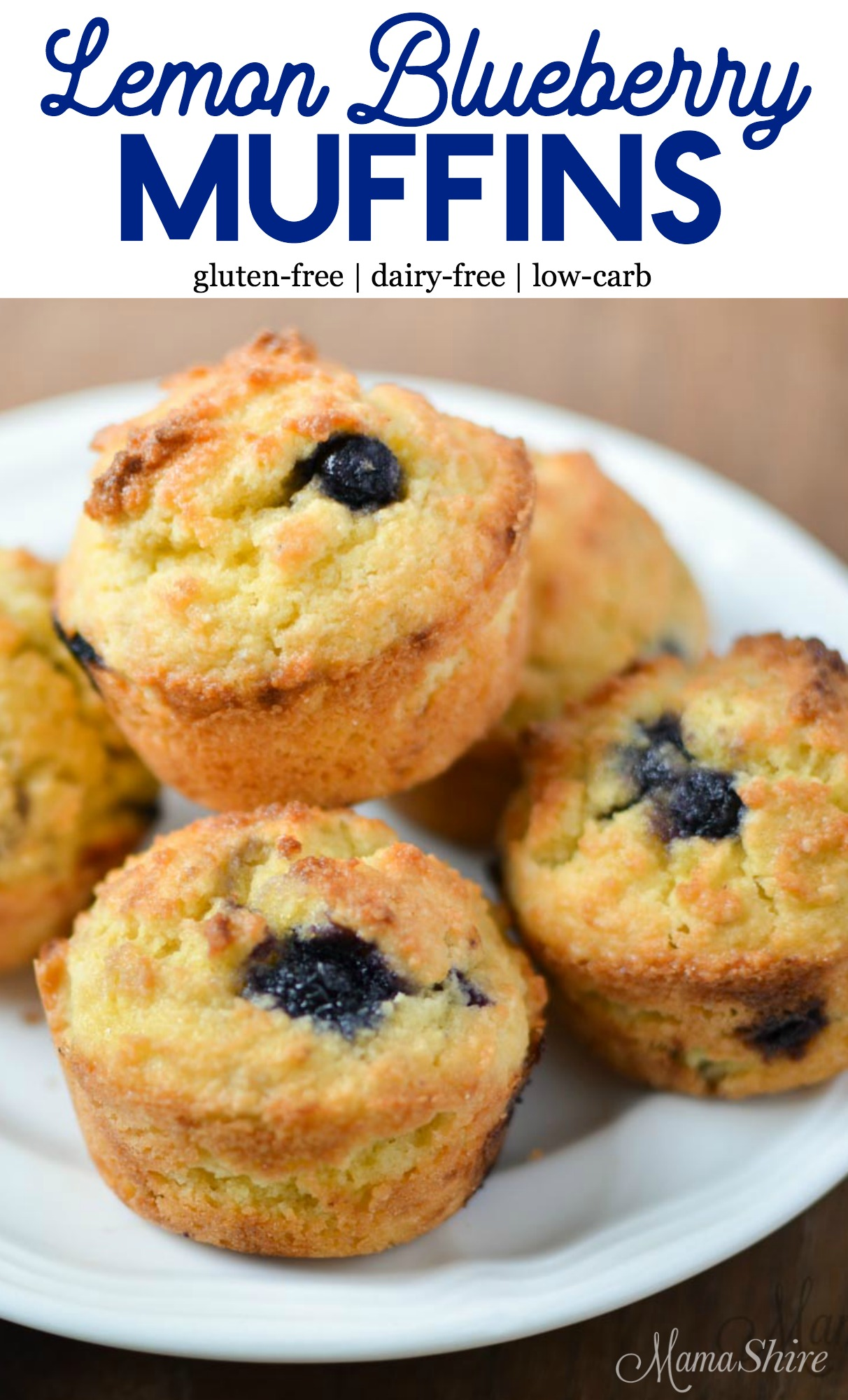 Lemon Blueberry Muffins on a plate.
