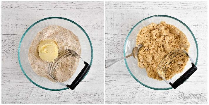 Oatmeal bar crumb topping and base mixture.
