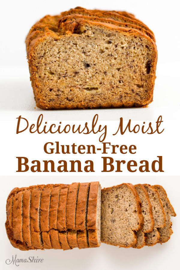 Sliced gluten-free banana bread.