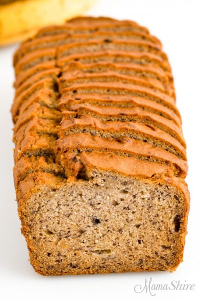 One loaf of banana bread made from a gluten-free recipe.