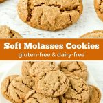Gluten-free and dairy-free soft molasses cookies.