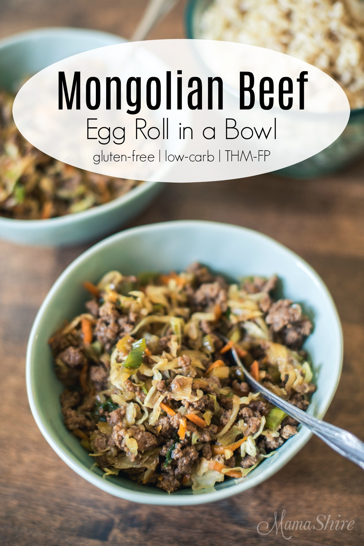 Mongolian Beef Egg Roll in a Bowl.