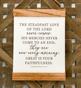 Farmhouse Style Canvas print sign with wood frame.