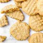 Peanut butter cookies made gluten-free and dairy-free.