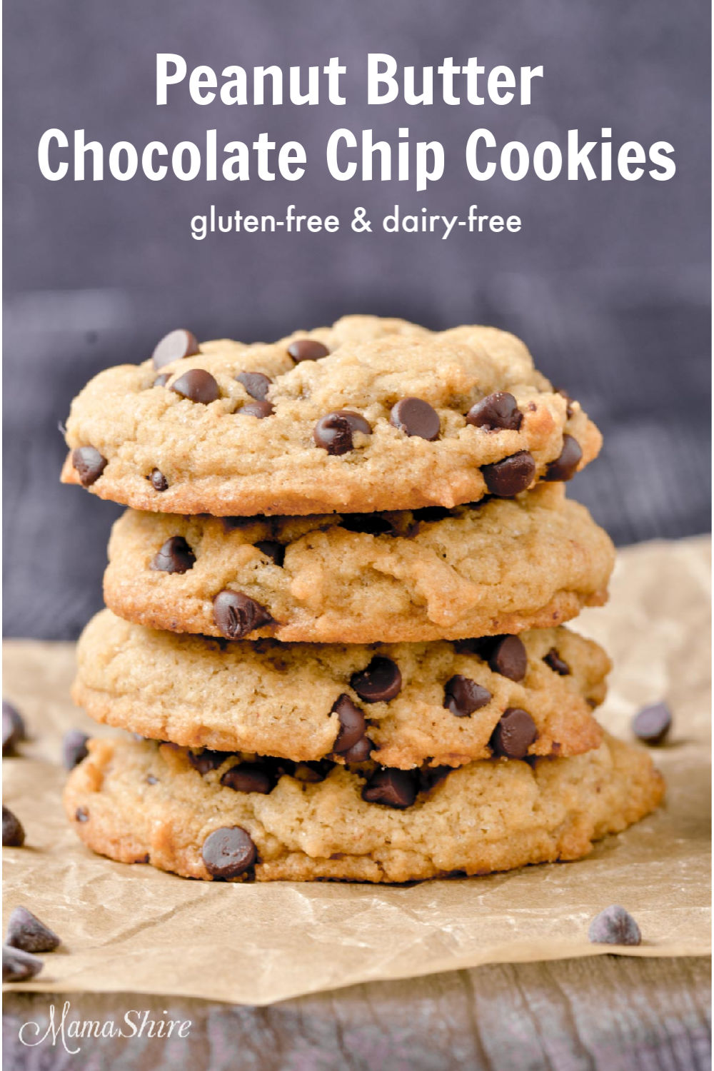Gluten-free peanut butter chocolate chip cookies.