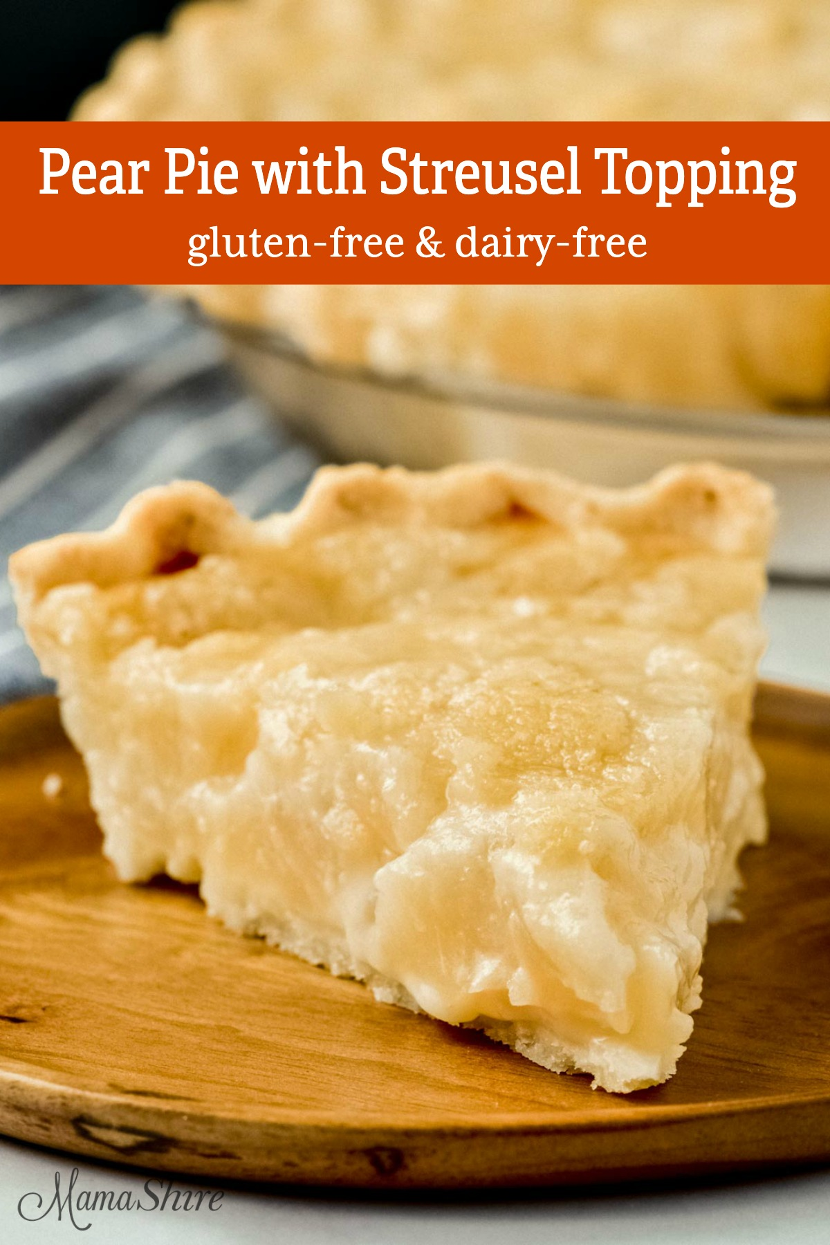 A slice of gluten-free pear pie.