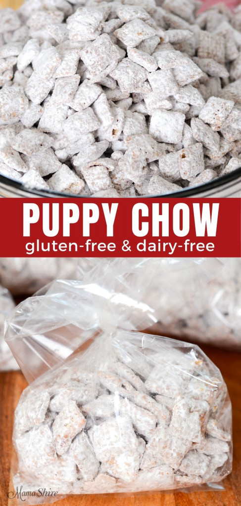Two pictures showing gluten-free, dairy-free puppy chow one in a bowl and the bottom picture with it in little snack bags.