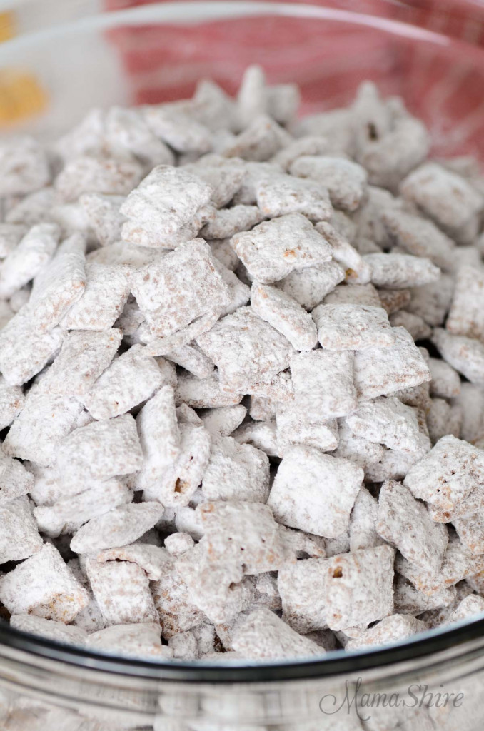Puppy Chow made with all gluten-free and dairy-free ingredients.
