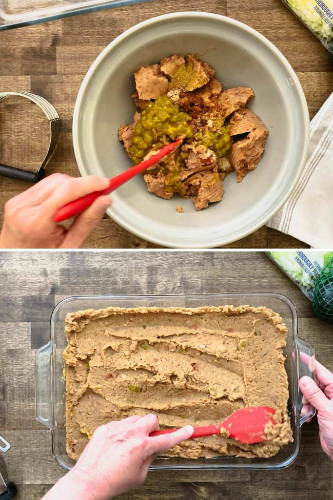 Two pictures showing steps to make refried beans with seasoning and chilis.