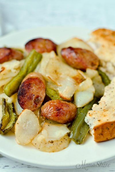 Closeup of easy roasted chicken sausage and potatoes.