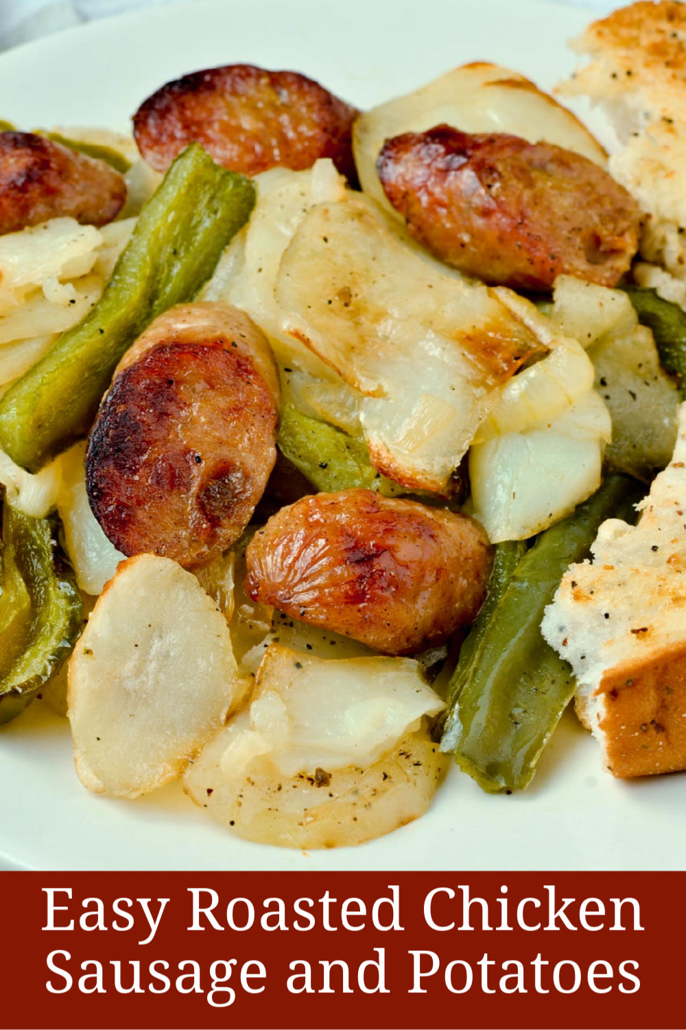 Easy roasted chicken sausage with potatoes and green pepper and a gluten-free bagel.
