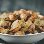 Red potatoes roasted in an air fryer.