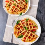Waffles that were stuffed with bacon, tomato, and basil.