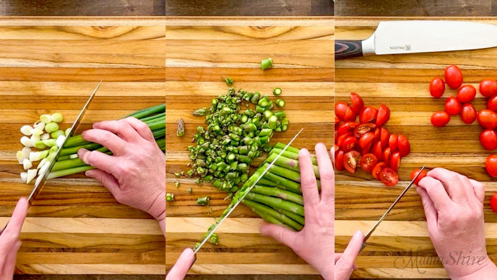 Three pictures side by side of veggies getting chopped. Green onions, asparagus, grape tomatoes.