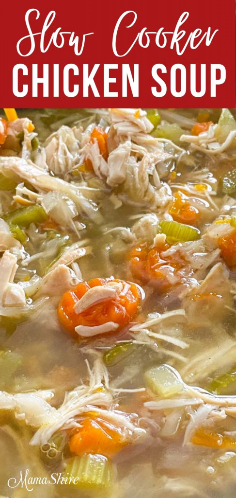 Vegetable chicken soup made in a crockpot.