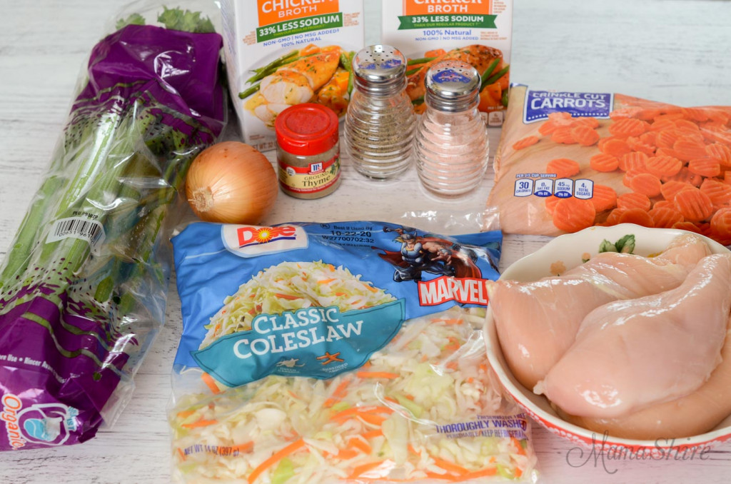 Ingredients to make chicken soup.