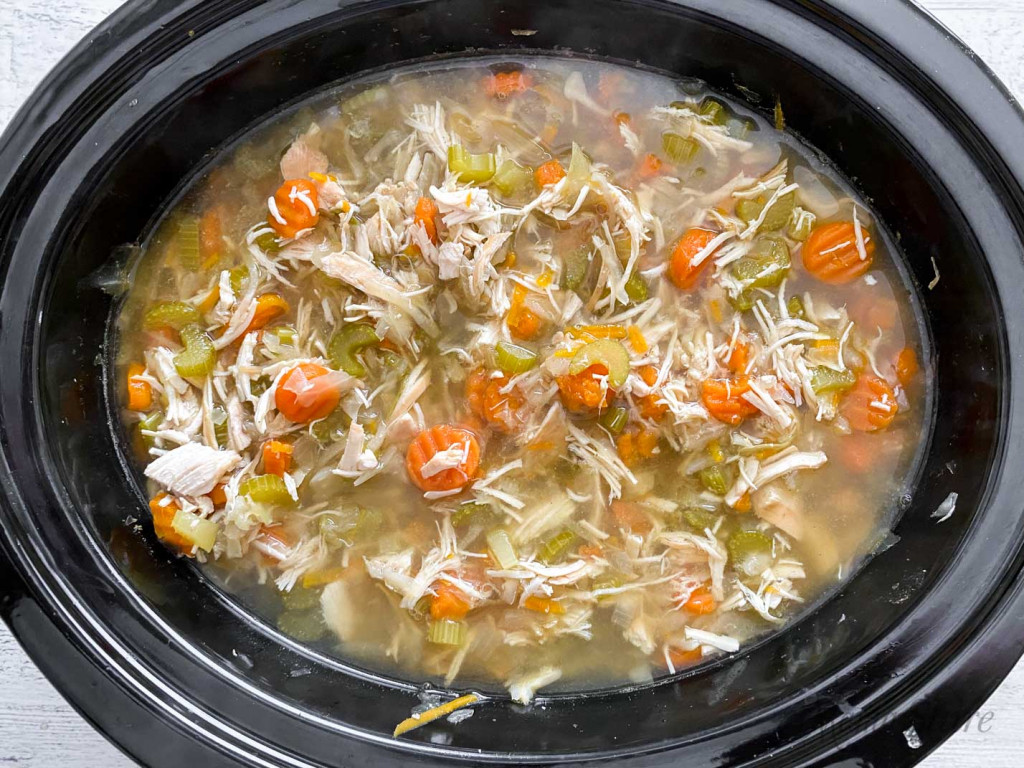 Slow cooker vegetable chicken soup.