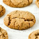 A closeup of a yummy gluten-free soft molasses cookie.