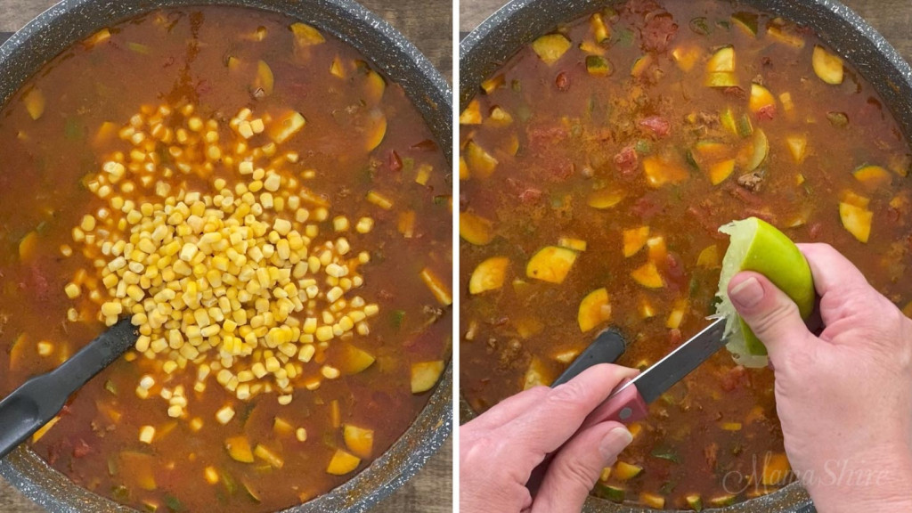 Mixing in corn and lime juice into taco soup