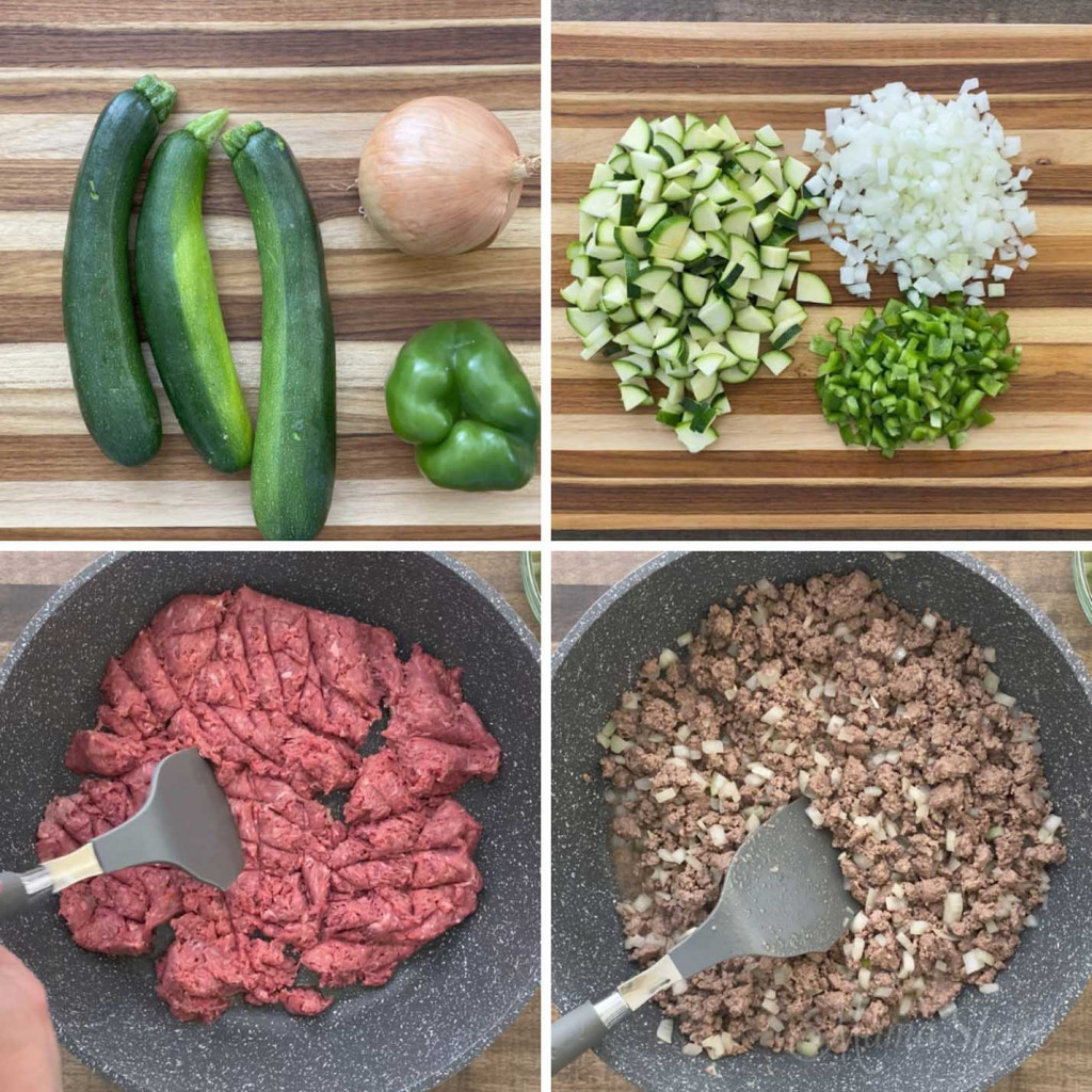 Steps for making gluten-free taco soup with veggies. Four pictures showing chopped veggies and browning ground beef.