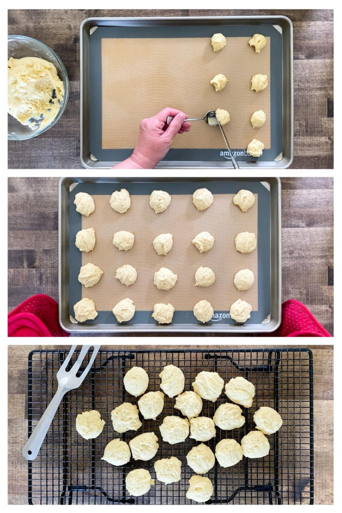 Three pictures showing how to baking gluten-free vanilla wafers.