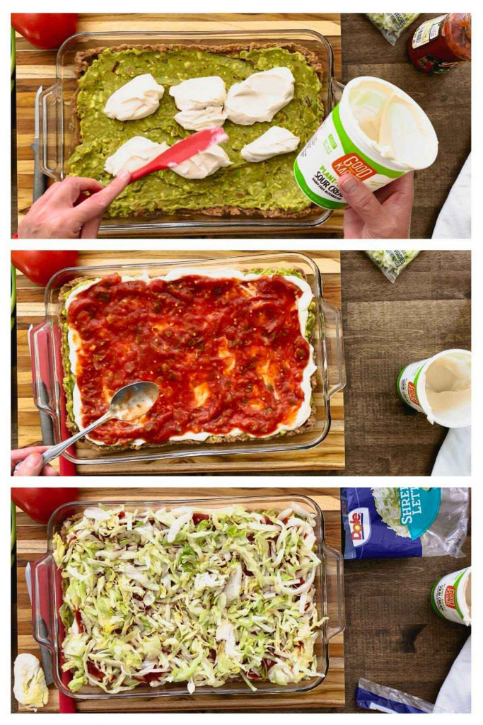 Three pictures showing dairy-free sour cream, salsa, and shredded lettuce layers for bean dip