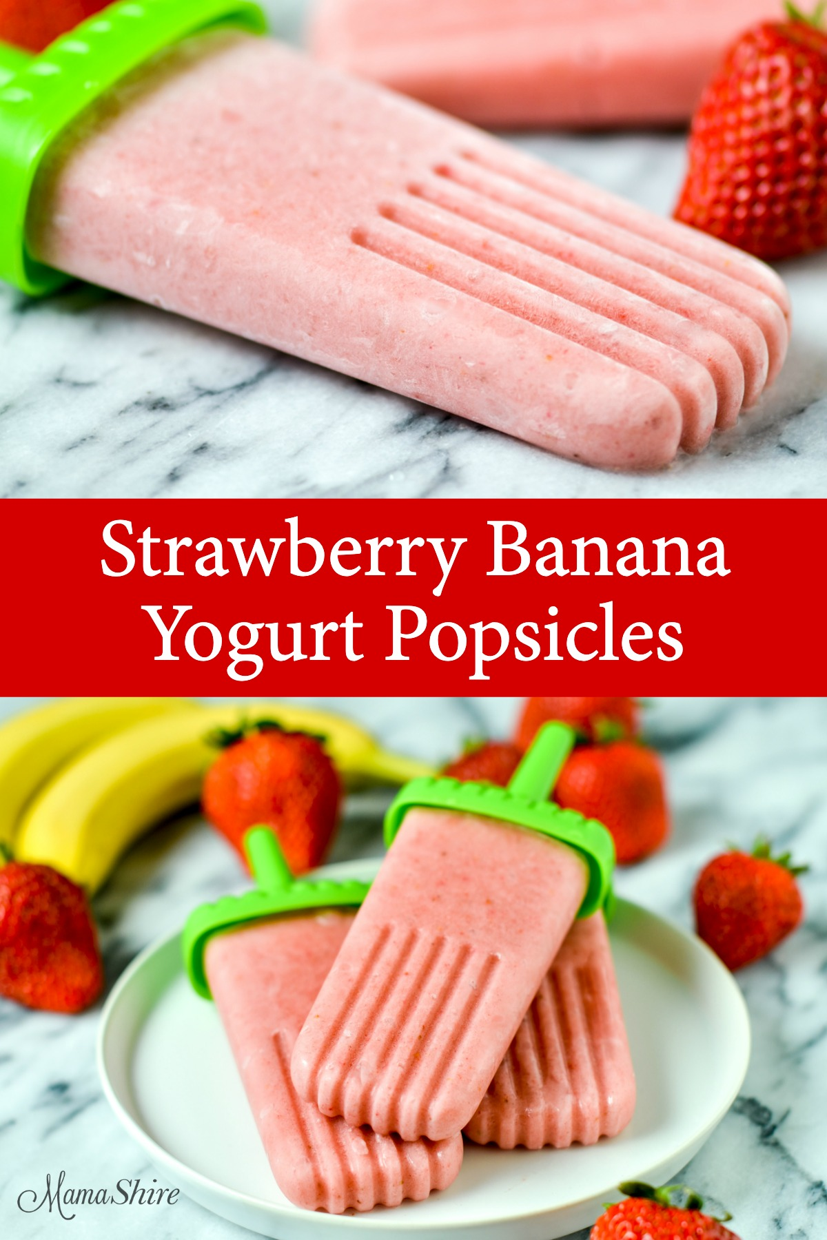 Delicious popsicles with strawberries and bananas in the background. These were made with a strawberry banana yogurt popsicle recipe thats dairy-free.