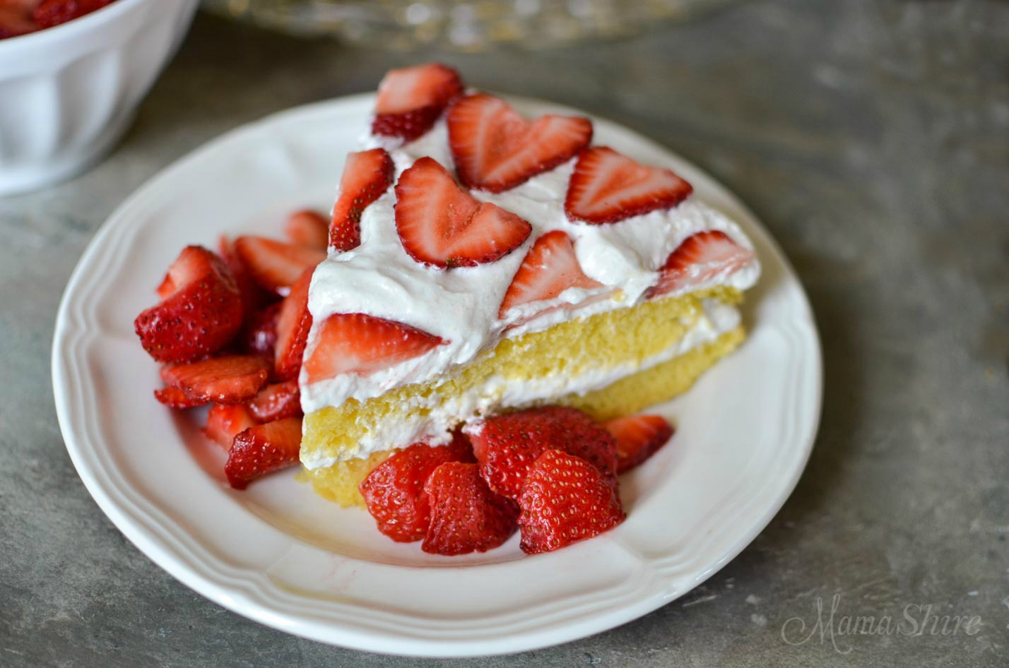 A yummy serving of gluten-free, dairy-free strawberry shortcake.