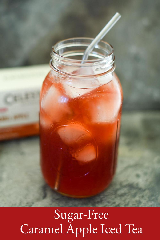 A quart jar of sugar-free caramel apple iced tea.