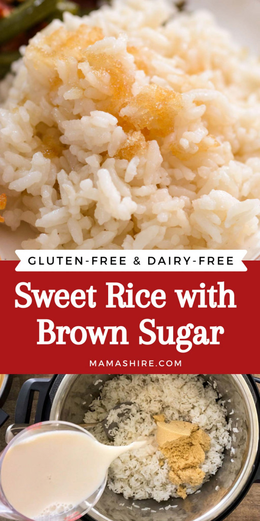 Two pictures showing the finished sweet rice and how to make it.