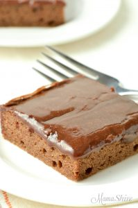 A slice of Texas sheet cake which is just a single layer of cake with a layer of fudgy icing.