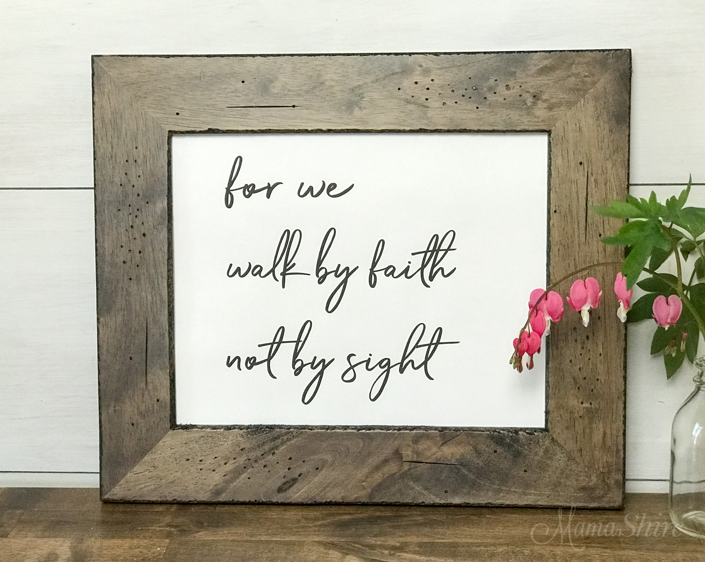 Walk By Faith, Not By Sight Free SVG, DXF, and printable PDF. This is the PDF printed and framed.