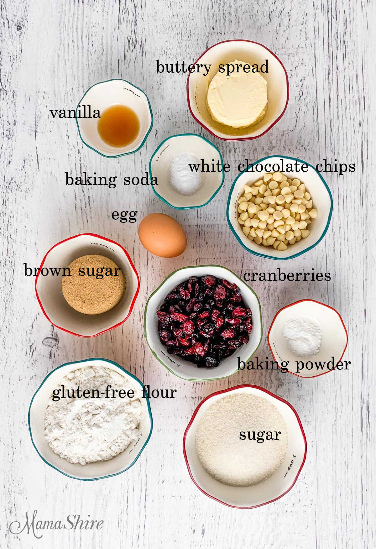 Ingredients for gluten-free white chocolate cranberry cookies.