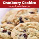 Gluten-free cookies with white chocolate chips and cranberries.